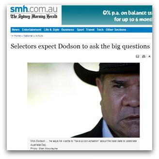 Screencap of Sydney Morning Herald article titled 'Selectors expect Dodson to ask the big questions'