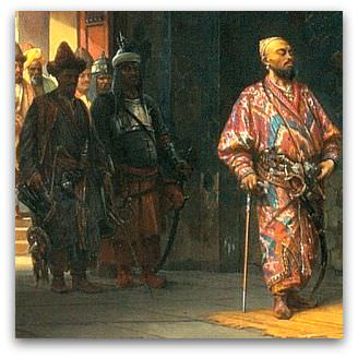 Painting by Stanislaw Chlebowski, Sultan Bayezid imprisoned by Timur, 1878, depicting the capture of Bayezid by Timur.