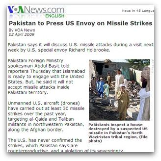 Pakistan to Press US Envoy on Missile Strikes By VOA News 02 April 2009