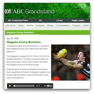 Magpies thump Bombers, ABC, 25 April 2008