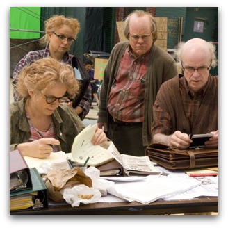 Samantha Morton, Philip Seymour Hoffman, Emily Watson and Tom Noonan in Synecdoche, New York