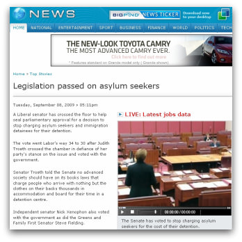 Legislation passed on asylum seekers, Bigpond News