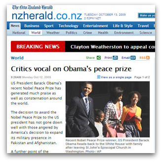 Critics vocal on Obama's peace prize, New Zealand Herald