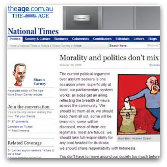 Morality and politics don't mix, The Age, 28 October 2009