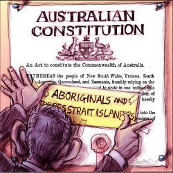'Completing the Constitution' by Chris Johnston. Abbott tapes 'Aboriginals and Torres Strait Islanders' onto the constitution document