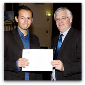 Jonathan Hill, second place in  the 2008 Margaret Dooley Award, receives his award from Brendan Kilty