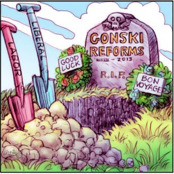 'End of the education revolution' by Chris Johnston. Open grave with a tombstone that reads 'Gonski Reforms'