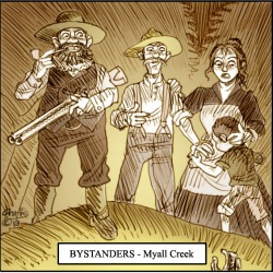 'Myall Creek Bystanders' by Chris Johnston. Man with gyn stands over massacre victims while settler family looks on