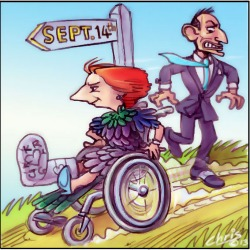 'Lame Duck Gillard' by Chris Johnston. Cartoon depiction of an injured, feathered Julia Gillard rolling downhill over Tony Abbott's foot