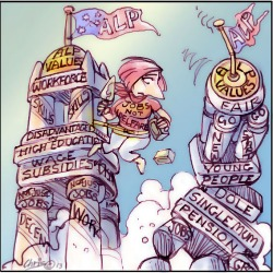 'Labor Values' by Chris Johnston. Julia Gillard leaps from toppling tower of old Labor values to sturdy tower of new Labor values