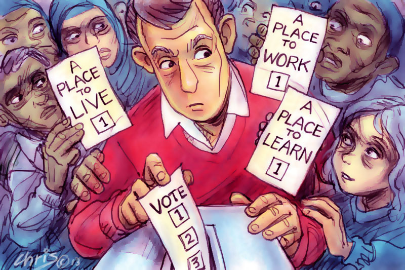 'Intrusion Of The Excluded' by Chris Johnston. White middle class male voter is surrounded by people of various backgrounds holding 'how to vote' slips bearing the slogans 'A place to work', 'A place to learn', 'A place to live'