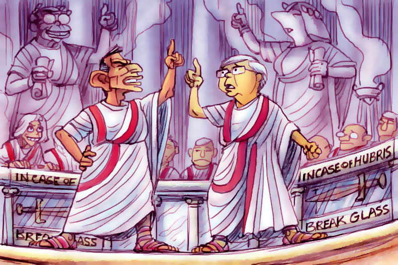 'Tonius and Kevinus'. Artwok by Chris Johnston portrays Tony Abbott and Kevin Rudd electioneering in ancient Roman garb.