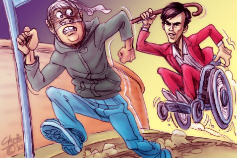 'Stick happens', by Chris Johnston. Tim Ferguson rides his wheelchair and wields his walking stick like a weapon as he chases a frightened mugger