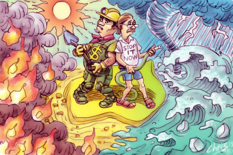 'Climate Foes' by Chris Johnston features a miner facing fires with a shovel and an environmentalist facing rising sea levels with a hose as these natural disasters encroach on Australian shores