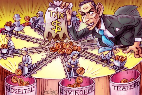 'Taxtrack' by Chris Johnston features Tony Abbott holding a burst bag of tax dollars, as small stylised citizens wheel portions of the spilled money off to the causes of their choice, for example barrels labelled Environment, Hospitals etc.