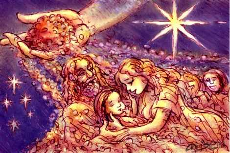 Chris Johnston's cartoon 'Christmas story for the poor' shows a the star of Bethlehem shining a light on poor people.