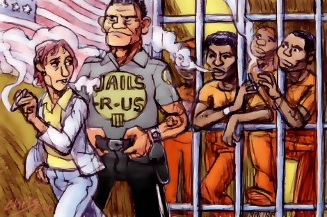 'Cannabis defence', by Chris Johnston. African American men stand behind bars sharing a small joint, guarded by a large man in a 'Jails-R-Us' T-shirt. A white man smoking a large joint walks by with immunity