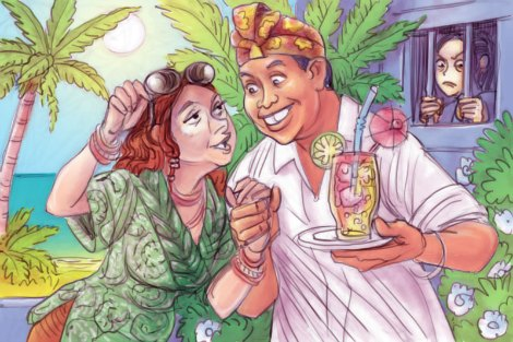 'Rhonda, Ketut and Schapelle' by Chris Johnston features a smiling Rhonda and Ketut sipping cocktails on a Bali beach while Schapelle watches on from behind bars