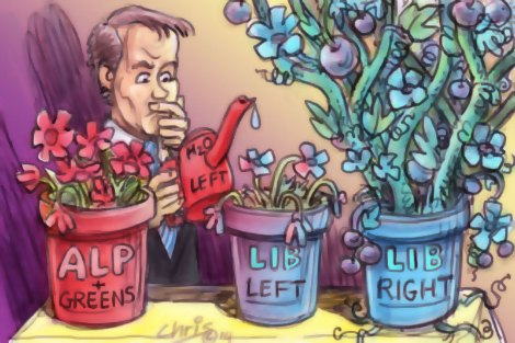'Liberal Left' by Chris Johnston. Bill Shorten waters the withered 'Liberal Left' pot plant. On either side the Liberal Right plant is thriving and the Labor/Greens plant is small but sturdy.