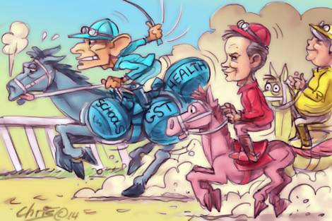 'Shorten's Moment' by Chris Johnston shows Bill Shorten threatening to overtake a Tony Abbott burdened with lead in the saddle.