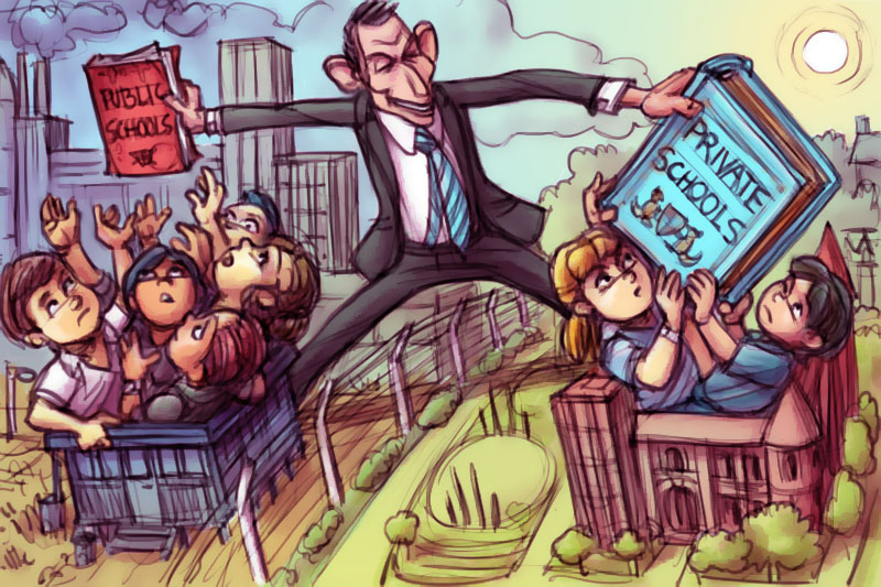 Chris Johnston's illustration 'Education Class Wars' shows a caricature of Tony Abbott favouring rich schools over poor schools