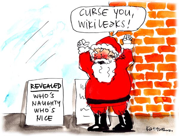 'Julian Assange steals Christmas' by Fiona Katauskas