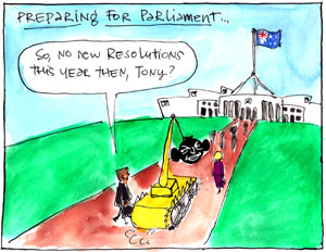 'Wrecking-ball Tony returns to Parliament', by Fiona Katauskas