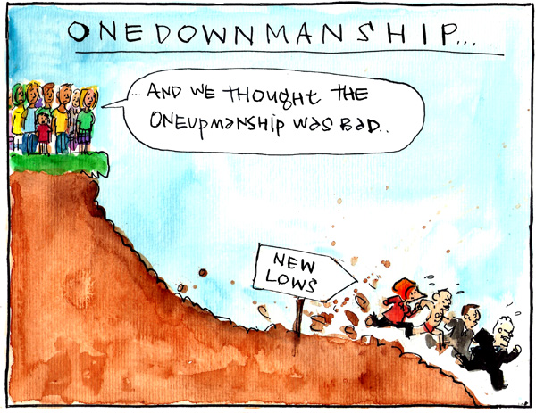 'Abbott and Gillard's downhill dash continues' by Fiona Katauskas