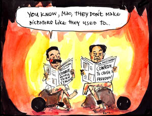 'Stalin assesses Comrade Stephen Conroy', by Fiona Katauskas. Cartoon of Joseph Stalin, apparently in hell, saying to Mao 'They don't make dictators like they used to', reading a newspaper that declares Stephen Conroy to be 'worse than Stalin'