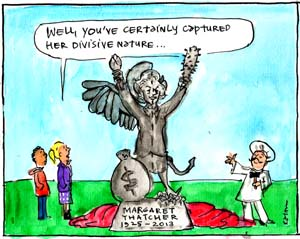 'Memorialising Thatcher', by Fiona Katauskas. Cartoon statue of Margaret Thatcher looking angelic on one side and demonic on the other