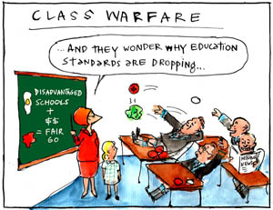 'Going, Going, Gonski', by Fiona Katauskas. Cartoon Julia Gillard tries to teach the good fundamentals of Gonski to a room full of childish state politicians