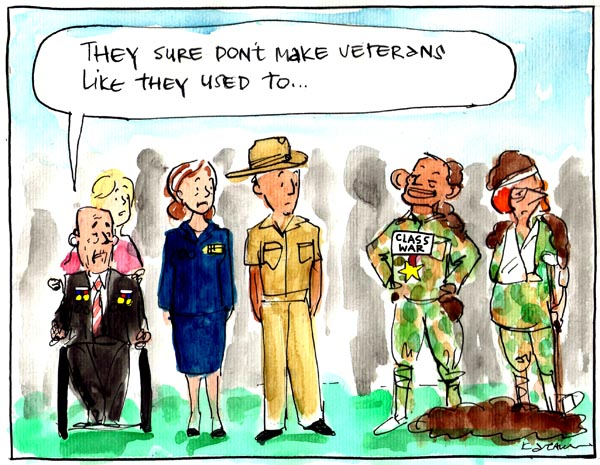 'Going, Going, Gonski', by Fiona Katauskas. Tony Abbott and Julia Gillard dressed in military garb as veterans of the 'class war' while bemused military veterans look on