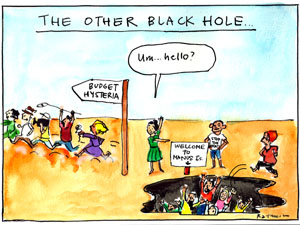 'The moral deficit', by Fiona Katauskas. Tony Abbott and Julia Gillard stand alongside a hole filled with people marked by a sign that reads 'Christmas Island', while media personell run the the opposite direction, guided by a sign that reads 'budget hysteria'
