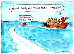 'Labor: not aiding, abetting', by Fiona Katauskas. Julia Gillard steer a boat loaded with bags of money labelled 'AID' toward a sign marked 'OFFSHORE DETENTION'
