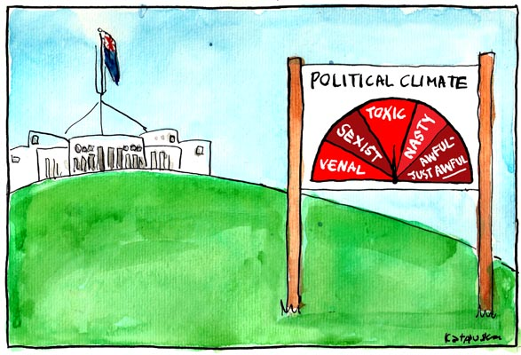 'Warning signs in Canberra', by Fiona Katauskas. Sign guages the state of the climate in Canberra, ranging from 'venal' and 'sexist' to 'nasty' and 'awful - just awful'