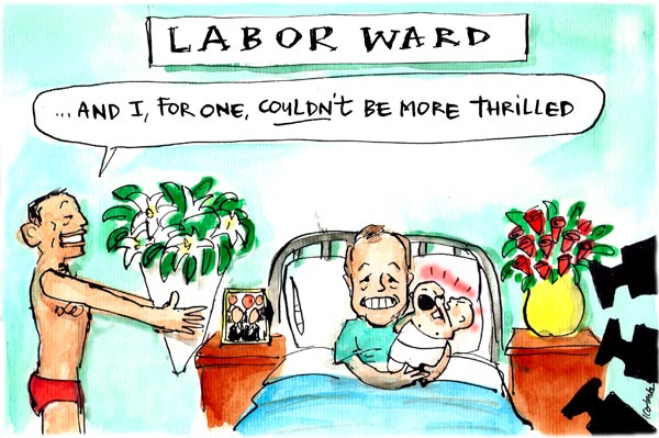 Fiona Katauskas' cartoon 'Shorten's difficult Labor' features Bill Shorten in a hospital bed beneath a sign that reads 'Labor ward'. He is holding a two-headed baby, with one 'twin' punching the other in the face. A Speedos-clad Tony Abbott presents a bunch of flowers while declaring 'And I for one couldn't be more thrilled'