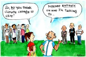 In Fiona Katauskas' cartoon 'The truth according to Tony', a woman asks Tony Abbott if he really thinks climate change is crap; he replies 'Depends entirely on who I'm talking to'