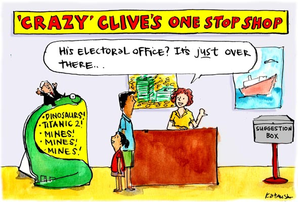 In Fiona Katauskas' cartoon 'Sold a PUP', a father visit's 'Crazy' Clive's One Stop Shop looking for Clive Palmer's electoral office.