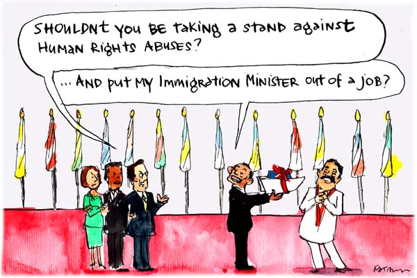 In Fiona Katauskas' cartoon 'Abbott on the world stage', Tony Abbott is at CHOGM in Sri Lanka. He is challenged by other world leaders 'Shouldn't you be taking a stand against human rights abuses?' He replies, '...And put my immigration minister out of a job?'