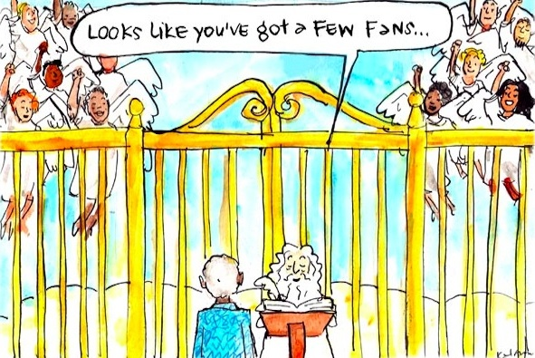 In Fiona Katauskas' cartoon 'Farewell, Mandela', Nelson Mandela being received at the gates of heaven