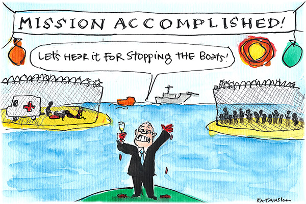 Fiona Katauskas' cartoon 'Morrison's Victory' shows a grinning Scott Morrison with blood on his hands raising a glass to 'stopping the boats' while in the background we see a stylised rendition of the tragic aftermath of the asylum seeker riots on Manus Island