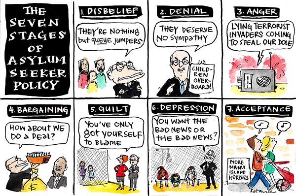 Fiona Katauskas' cartoon 'Asylum seeker policy psychology 101' portrays the Seven Stages of Asylum Seeker Policy