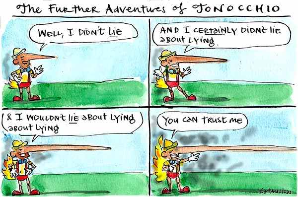 Fiona Katauskas' cartoon 'More political fairytales' shows Tony Abbott asserting once more that he did not lie.
