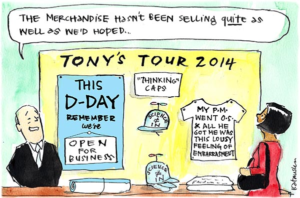 Fiona Katauskas' 'Abbott's merch stand' contains a poster that declares 'This D-Day we're open for business' and a T-shirt that says 'My PM went OS and all he got me was this lousy feeling of embarrassment'