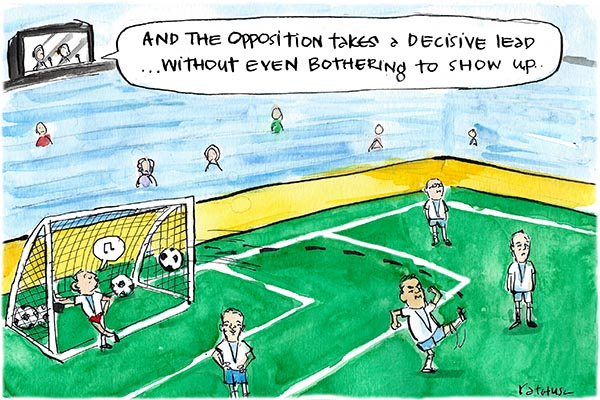 Fiona Katauskas' cartoon 'Another Coalition own goal' shows Joe Hockey kicking an own goal on a soccer pitch while a commentator commends the Opposition's performance despite not even showing up.