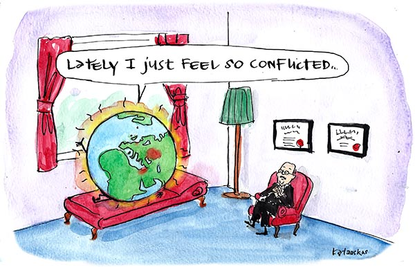 In Fiona Katauskas' cartoon 'World woe' the world tells a counsellor 'Lately I just feel so conflicted'