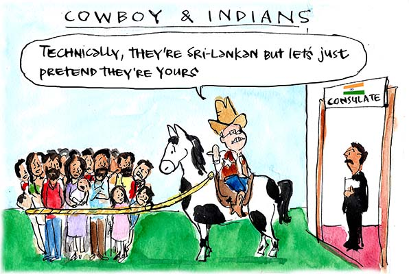 In Fiona Katauskas' cartoon 'Morrison's refugee rodeo' the Immigration Minister sits backwards on a horse and delivers a group of lassoed Sri Lankan asylum seekers to the Indian consulate