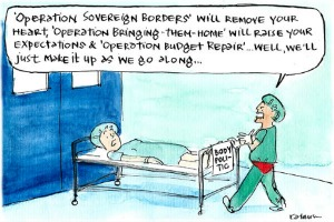 Fiona Katauskas' cartoon Just what the spin doctor ordered with Body Politic wheeled in for various Operations