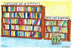 Fiona Katauskas' cartoon Boys' Own Intervention with the PM reading from Boys' Own Adventure bookshelf rather than a shelf labelled Lessons of History