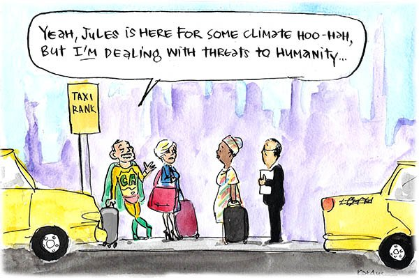 Fiona Katauskas' cartoon shows Tony Abbott alongside Julie Bishop in New York, contrasting the 'climate hoo-hah' meeting with the miltary strikes against Muslim extremists.